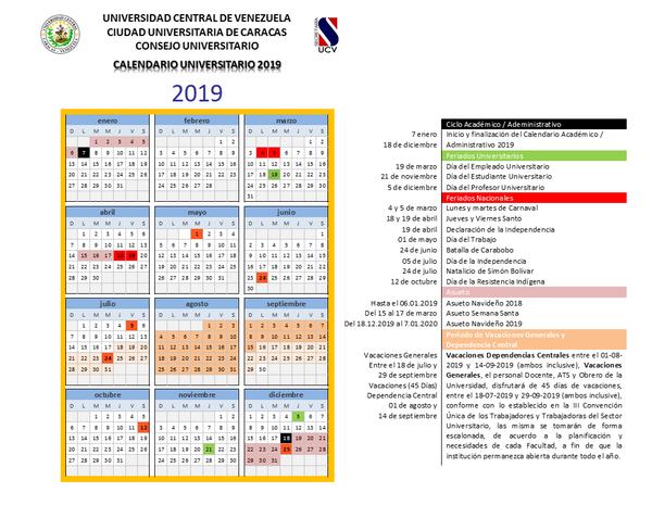 Calendario Universitario.Calendario 2019