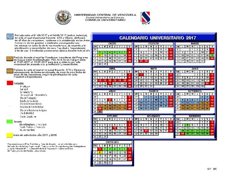 Calendario Universitario.Calendario Universitario 2017